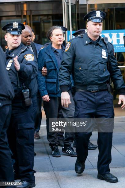 Timothy Hutton is seen on on set for 'Sisters' in Midtown on March 26 2019 in New York City
