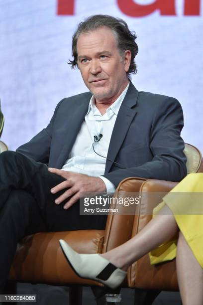 Timothy Hutton of Almost Family speaks during the Fox segment of the 2019 Summer TCA Press Tour at The Beverly Hilton Hotel on August 7 2019 in...