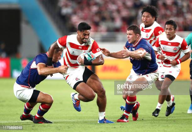 Timothy Lafaele of Japan attempts to break clear during the Rugby World Cup 2019 Group A game between Japan and Russia at the Tokyo Stadium on...