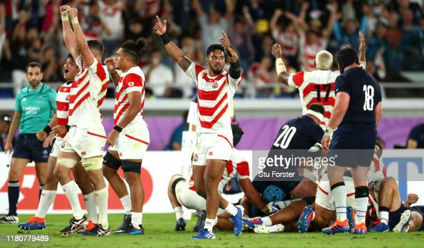 Timothy Lafaele of Japan celebrates victory after the Rugby World Cup 2019 Group A game between Japan and Scotland at International Stadium Yokohama...