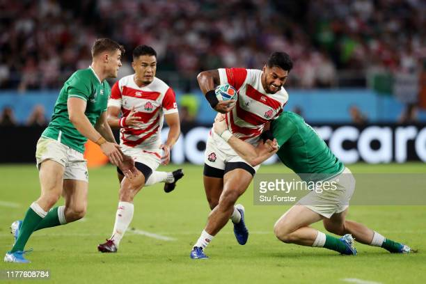 Timothy Lafaele of Japan is tackled during the Rugby World Cup 2019 Group A game between Japan and Ireland at Shizuoka Stadium Ecopa on September 28,...