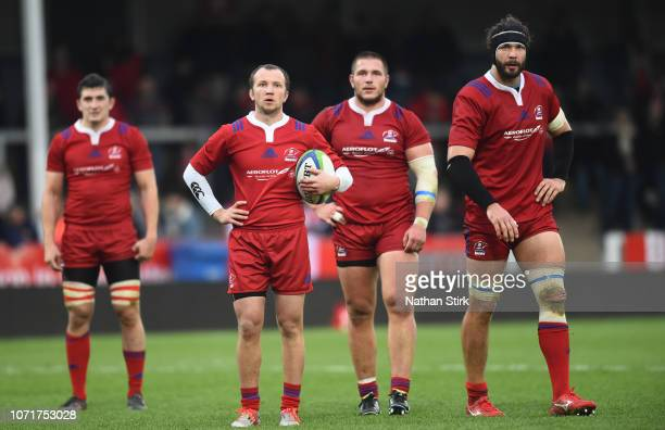 Timothy Lafaele of Japan looks on with his team mates during the International Friendly match between Russia and Japan at Kingsholm Stadium on...
