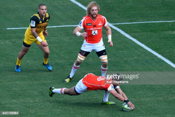 Timothy Lafaele of Sunwolves catches the ball during the Super Rugby Rd 1 game between Sunwolves and Hurricanes at Prince Chichibu Memorial Ground on...