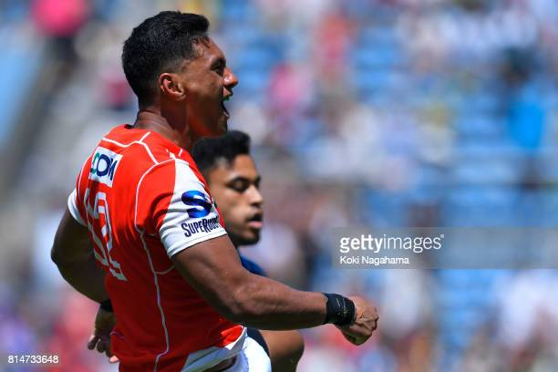 Timothy Lafaele of Sunwolves celebrates celebrates scoring his try during the Super Rugby match between the Sunwolves and the Blues at Prince...