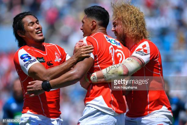 Timothy Lafaele of Sunwolves celebrates scoring a try with his teammates during the Super Rugby match between the Sunwolves and the Blues at Prince...