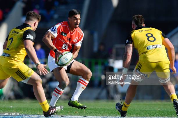 Timothy Lafaele of Sunwolves in action during the Super Rugby Rd 1 game between Sunwolves and Hurricanes at Prince Chichibu Memorial Ground on...