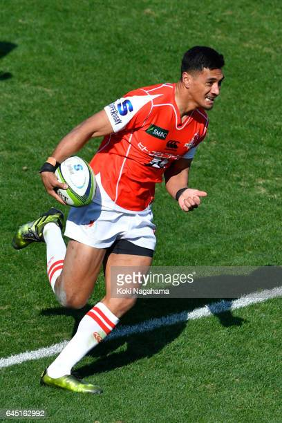 Timothy Lafaele of Sunwolves runs with ball during the Super Rugby Rd 1 game between Sunwolves and Hurricanes at Prince Chichibu Memorial Ground on...
