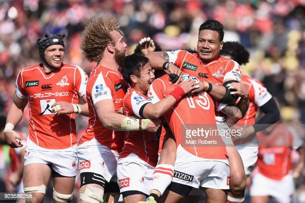 Timothy Lafaele of the Sunwolves celebrates scoring a try with team mates during the Super Rugby round 2 match between Sunwolves and Brumbies at the...