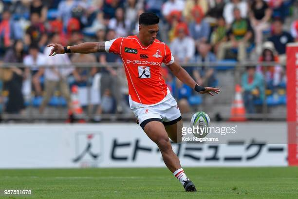 Timothy Lafaele of the Sunwolves in action during the Super Rugby match between Sunwolves and Reds at Prince Chichibu Memorial Ground on May 12, 2018...