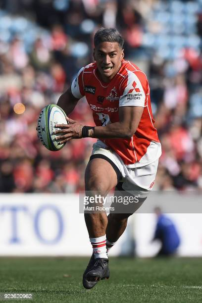 Timothy Lafaele of the Sunwolves runs with the ball during the Super Rugby round 2 match between Sunwolves and Brumbies at the Prince Chichibu...