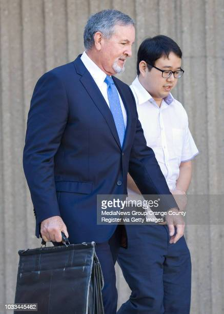 Timothy Lai leaves Harbor Court with his attorney Donald Rubright after pleading not guilty to 5 felony charges resulting from breaking into school...