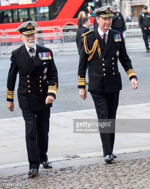 Timothy Laurence and Prince Michael of Kent attend a Service of Thanksgiving for the life and work of Sir Donald Gosling at Westminster Abbey on...