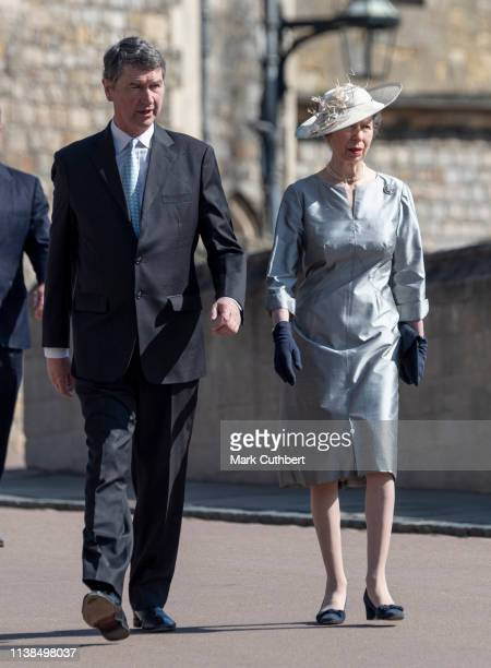 Timothy Laurence and Princess Anne Princess Royal attend Easter Sunday service at St George's Chapel on April 21 2019 in Windsor England