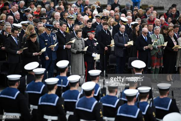 Timothy Laurence and Princess Anne Princess Royal join dignitaries and decedents as they attend a WW100 commemoration service at Port Ellen War...