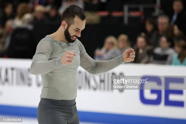 Timothy LeDuc reacts after completing their senior pairs free skate at the 2019 US Figure Skating Championships at Little Caesars Arena on January 26...