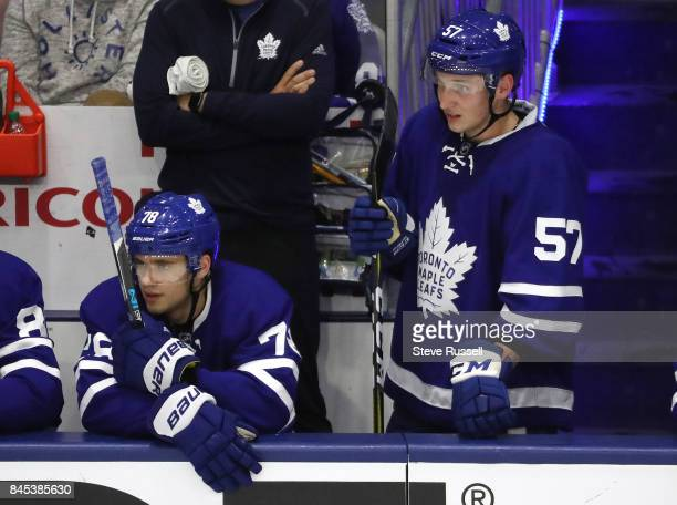 TORONTO ON SEPTEMBER 10 Timothy Liljegren and Travis Dermott watch from the bench as the the Toronto Maple Leafs Rookie team plays the Ottawa...