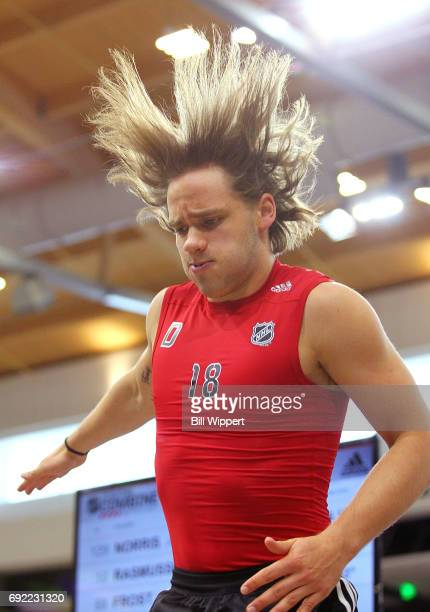 Timothy Liljegren jumps during testing at the NHL Combine at HarborCenter on June 3 2017 in Buffalo New York