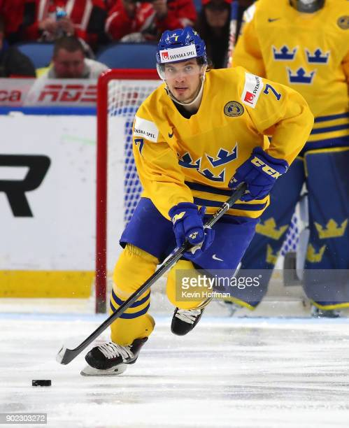 Timothy Liljegren of Sweden in play against Canada during the Gold medal game of the IIHF World Junior Championship at KeyBank Center on January 5...