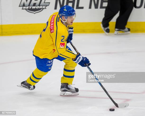 Timothy Liljegren of Sweden turns up ice with the puck against USA during a World Jr Summer Showcase game at USA Hockey Arena on August 2 2017 in...