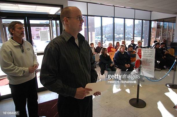 Timothy Masters stands in line at the DMV to get his drivers license in Greeley today Timothy Masters today took to the wheel of a car for the first...