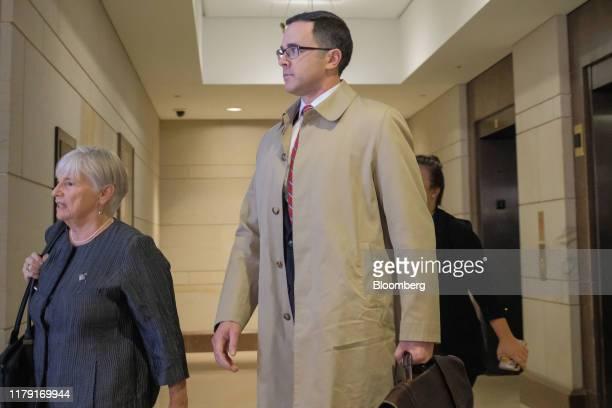 Timothy Morrison former National Security Council aide center arrives to testify for a closeddoor deposition before House committees on Capitol Hill...