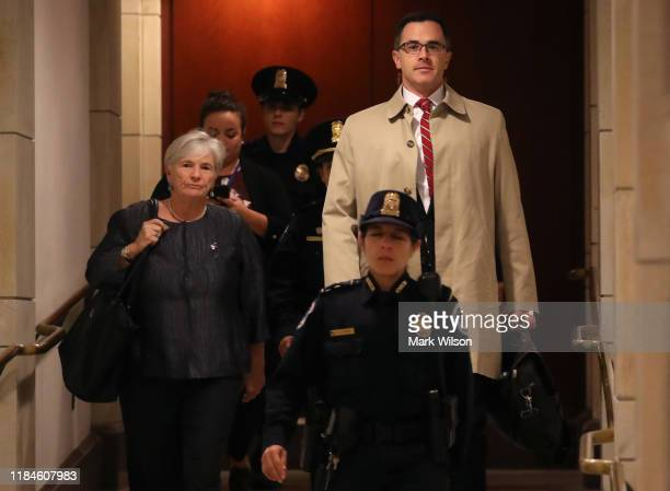 Timothy Morrison National Security Council's Russia and Europe Director is escorted to a closeddoor deposition on October 31 2019 in Washington DC...