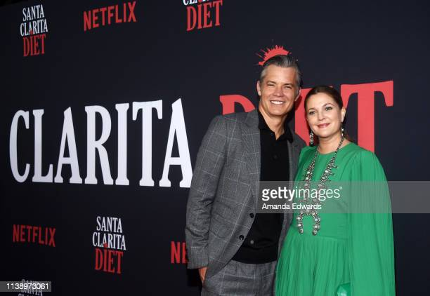 Timothy Olyphant and Drew Barrymore arrive at Netflix's Santa Clarita Diet Season 3 Premiere at Hollywood Post 43 on March 28 2019 in Los Angeles...