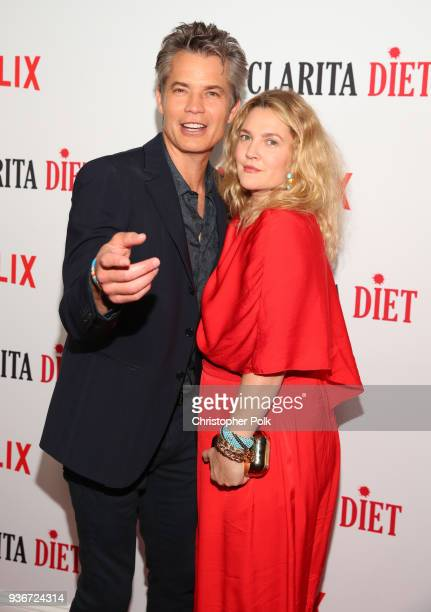 Timothy Olyphant and Drew Barrymore attend Netflix's Santa Clarita Diet Season 2 Premiere at The Dome at Arclight Hollywood on March 22 2018 in...
