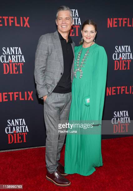 Timothy Olyphant and Drew Barrymore attend Netflix's 'Santa Clarita Diet' Season 3 Premiere at Hollywood Post 43 on March 28 2019 in Los Angeles...