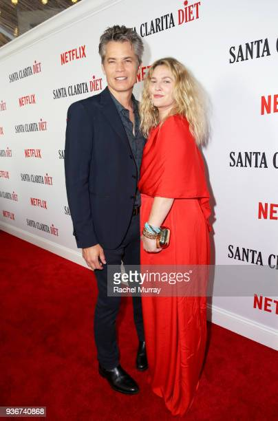 Timothy Olyphant and Drew Barrymore attend the Santa Clarita Diet season 2 world premiere on March 22 2018 in Hollywood California