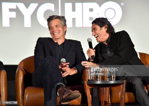 Timothy Olyphant and Ian McShane speak onstage at HBO's 'Deadwood' FYC screening at Arclight Hollywood on May 15, 2019 in Los Angeles, California.