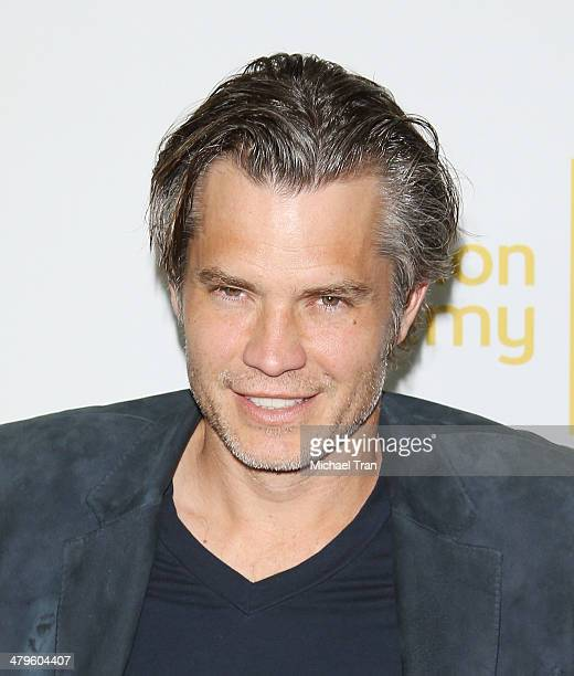 """Timothy Olyphant arrives at The Television Academy presents An Evening with """"Justified"""" held at Leonard H. Goldenson Theatre on March 19, 2014 in..."""