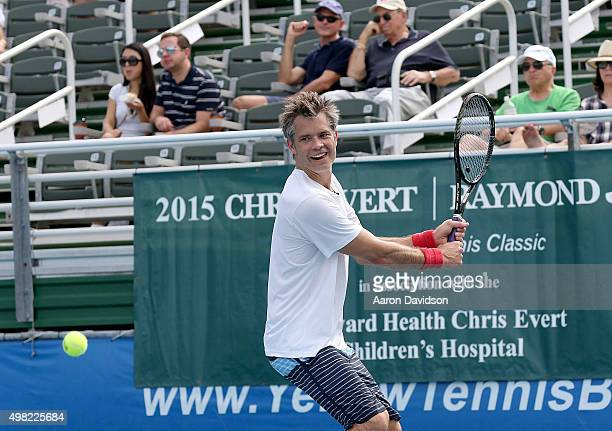 Timothy Olyphant participates in 2015 Chris Evert/Raymond James ProCelebrity Tennis Classic at Delray Beach Tennis Center on November 21 2015 in...