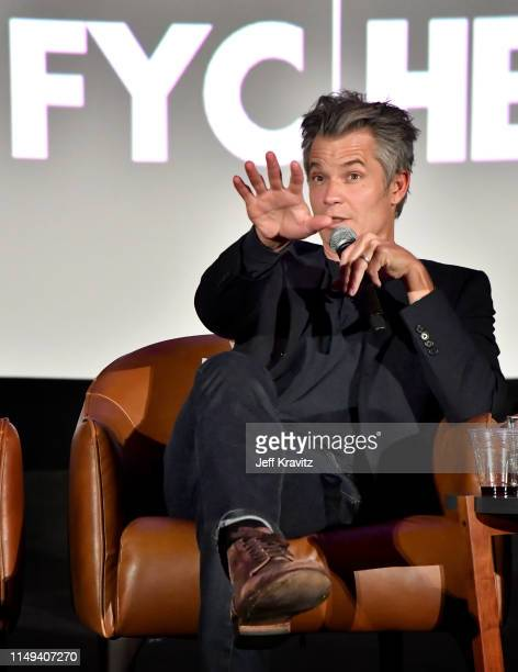 Timothy Olyphant speaks onstage at HBO's 'Deadwood' FYC screening at Arclight Hollywood on May 15, 2019 in Los Angeles, California.
