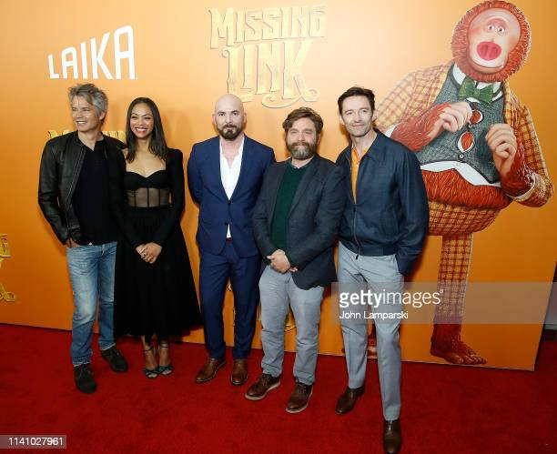 "Timothy Olyphant, Zoe Saldana, Chris Butler, Zach Galifianakis and Hugh Jackman attend ""Missing Link"" New York Premiere at Regal Cinema Battery Park..."