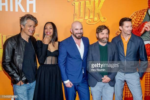 "Timothy Olyphant, Zoe Saldana, Chris Butler, Zach Galifianakis and Hugh Jackman attend the ""Missing Link"" New York Premiere at Regal Cinema Battery..."