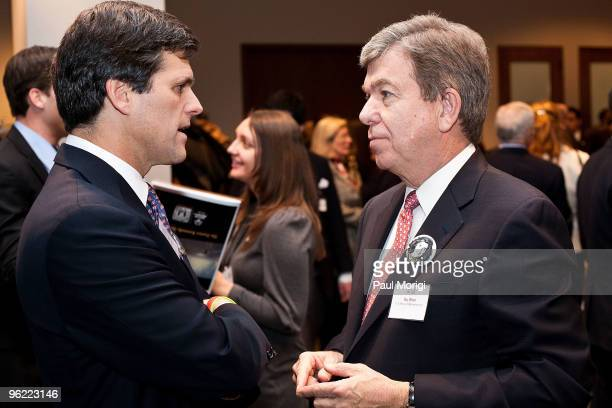 Timothy P. Shriver , Chairman & CEO, Special Olympics, talks with Rep. Roy Blunt at the Eunice Kennedy Shriver Act support reception at the Hart...