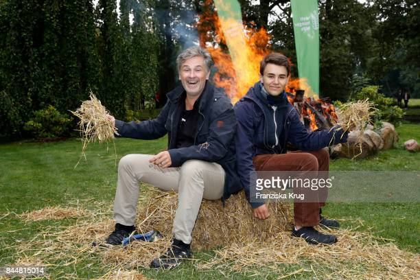 Timothy Peach and his son Nelson attend the Till Demtroeders CharityEvent 'Usedom Cross Country' at Schloss Mellenthin on September 9 2017 near...