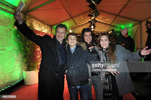 Timothy Peach and his wife Nicola Tiggeler wit kids Nelson and Tiffany attend 'Cirque Du Soleil' Kooza 2014 Munich Premiere at Theresienwiese on...