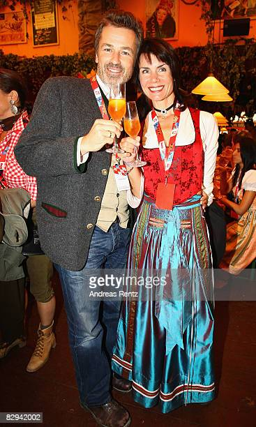 Timothy Peach and Nicola Tiggeler attend a party at Hippodrom beer tent during day 2 of Oktoberfest beer festival on September 21 2008 in Munich...