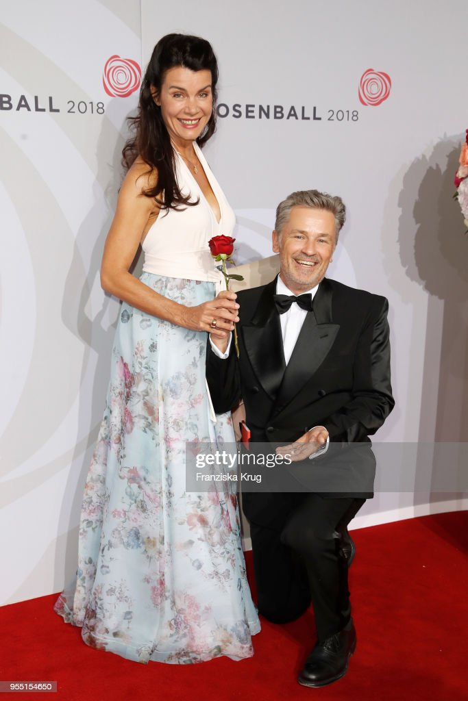Timothy Peach and Nicola Tiggeler attend the Rosenball charity event at Hotel Intercontinental on May 5, 2018 in Berlin, Germany.