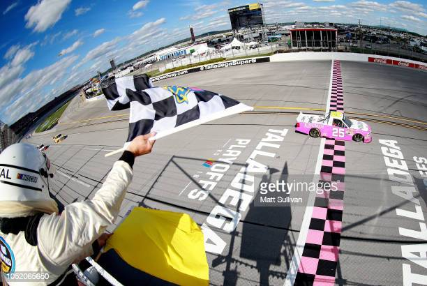 Timothy Peters driver of the Kingman Chevrolet Chevrolet takes the checkered flag to win the NASCAR Camping World Truck Series Fr8Auctions 250 at...