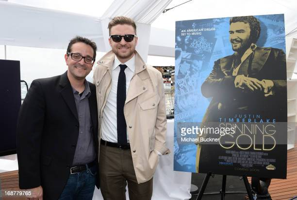 Timothy Scott Bogart and Justin Timberlake attends the opening day at Torch Cannes celebrating the film Spinning Gold during the The 66th Annual...