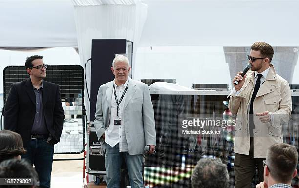 Timothy Scott Bogart Mark Damon and Justin Timberlake attend the opening day at Torch Cannes celebrating the film Spinning Gold during the The 66th...