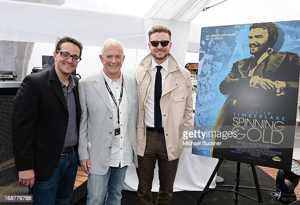 Timothy Scott Bogart Mark Damon and Justin Timberlake attends the opening day at Torch Cannes celebrating the film Spinning Gold during the The 66th...