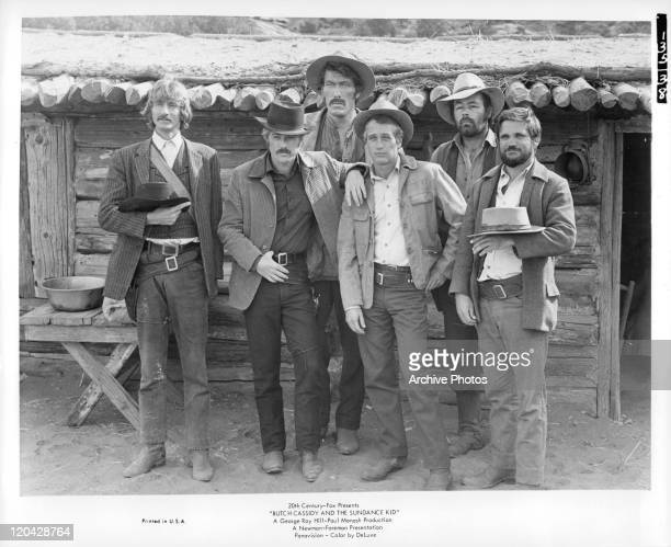 Timothy Scott Robert Redford Ted Cassidy Paul Newman Donnelly Rhodes Charles Dierkopin in promotional portrait for the film 'Butch Cassidy And The...
