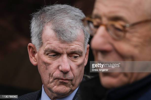 Timothy Sloan chief executive officer of Wells Fargo speaks with Stephen Ross chairman and majority owner of the Related Companies attend the grand...