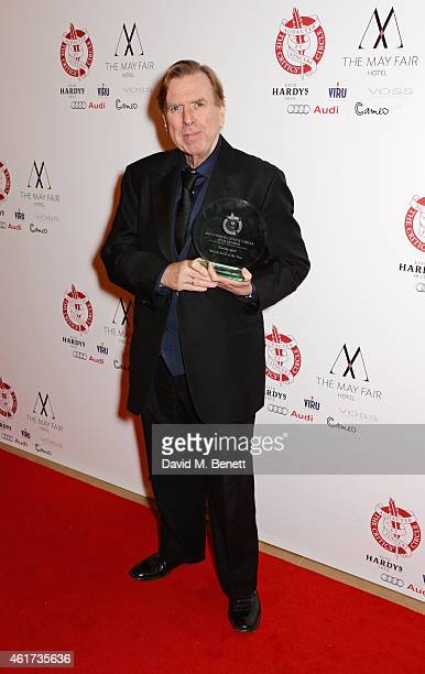 "Timothy Spall, winner of the British Actor of the Year award for ""Mr. Turner"", poses in the Winners Room at The London Critics' Circle Film Awards at..."