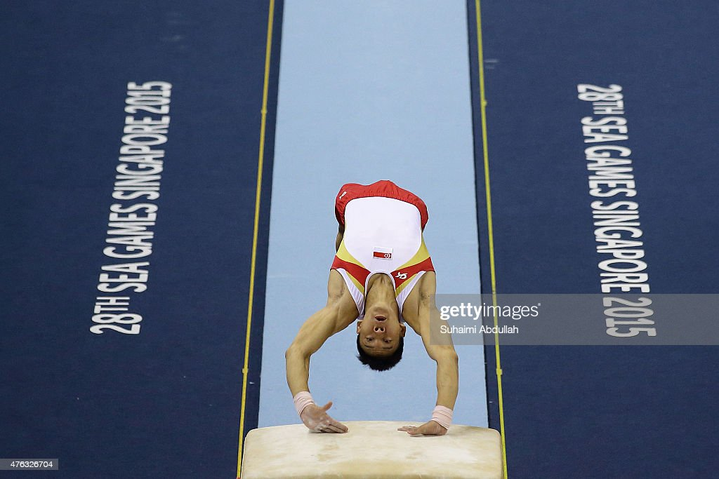 Timothy Tay of Singapore in action during the vault event in the men's gymnastic individual all-around final at the Bishan Sports Hall during the 2015 SEA Games on June 8, 2015 in Singapore.