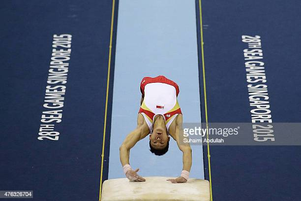 Timothy Tay of Singapore in action during the vault event in the men's gymnastic individual allaround final at the Bishan Sports Hall during the 2015...